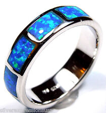 Blue Fire Opal Inlay 925 Sterling Silver Eternity Men's, Woman Band Ring Sz 6-13