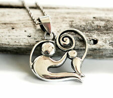 Sterling Silver Mother and Child Heart Pendant and Chain Necklace - Gift Boxed