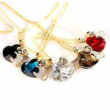 Women Trendy Monkey and Heart Shaped Rhinestone + Alloy Sweater Necklaces F5
