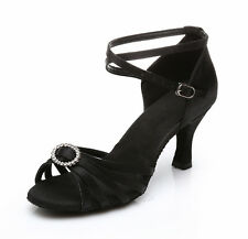 Hot Brand New Women's Ballroom Latin Tango Dance Shoes heeled Salsa Black 308