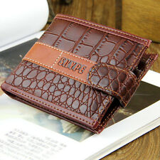 Men Crocodile Grain PU Leather Bifold Slot Coin Pocket Purse US dollars Wallet