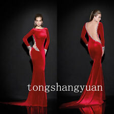 Long Sleeve Evening Dresses For Women Formal Prom Gowns Velvet Pageant Cocktail