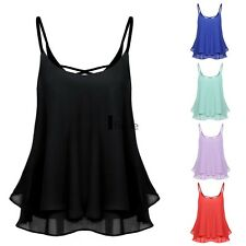 Women Sexy Sleeveless Strap Solid Chiffion Loose Camisole Vest Tank Top ILOE