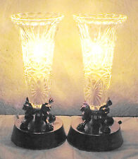 """LAMPS A BEAUTIFUL PAIR OF 11""""H ANTIQUE CRYSTAL GLASS & BRASS LION HEAD URN LAMPS"""