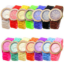 "Geneva Crystal Silicone Rubber Jelly Band Watch W/ Rhinestone Bezel Women""s NEW"