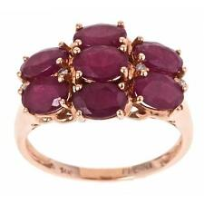 D'Yach 14k Rose Gold Ruby and Diamond Accent Cluster Ring