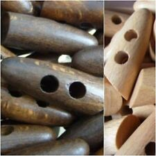 W81-45mm 3pcs REAL BEECH WOOD LARGE SOLID TOOTH TOGGLE ITALIAN BUTTONS