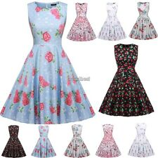Women Vintage Style Print Sundress Swing Hem  Party Club Casual Pleated Dress UK