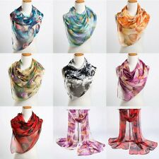 Fashion Women Silk Scarves Warp Leaves Printing Long Scarf Shawl Cute Gifts