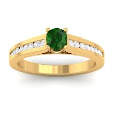 Green Emerald FG SI Round Diamond Women Gemstone Wedding Ring 10K Yellow Gold
