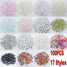 100pcs 4x7mm Acrylic Mixed Alphabet Letter Coin Round Flat Spacer Beads DIY Pick