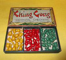 VINTAGE CHING GONG ORIENTAL CHECKERS WOODEN GAME PIECES in ORIGINAL BOX