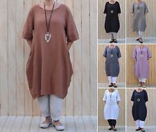 Ladies Lagenlook Quirky 100% Quality Linen Tunic Top Dress Plus Size 14 - 26 W47