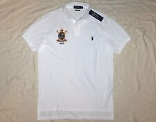 POLO RALPH LAUREN Custom Fit Pony / Crest Mesh Polo Shirt, White, SMALL