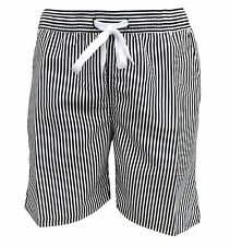 Soul Star Men's Splendor Striped Swim Beach Shorts Black / White
