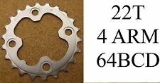 Shimano Deore Inner 22T Chainring 64mm BCD 4 Bolt Silver Alloy