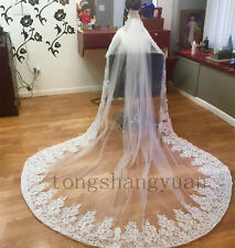 Wedding Veils White Ivory Lace Applique 1T Cathedral Bridal Veil With Comb 2017