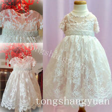 Lace Beading Infant Baptism Gown For Girl Ivory White Christening Dresses Custom