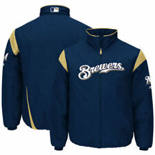 Milwaukee Brewers Majestic On-Field Therma Base Thermal Full-Zip Jacket - MLB