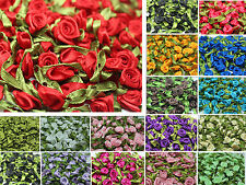 12mm DIY 50/100pcs Satin Ribbon Rose Flower DIY Craft Wedding Appliques
