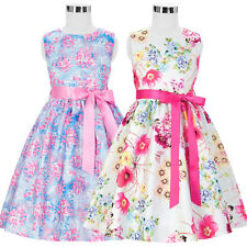 New Girls Skater Princess Dress Kids Floral Print Summer Party Dresses 2~12 Year