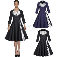 Womens Vintage Retro Swing 50s 60s Rockabilly Pinup Evening Party Prom Dress New