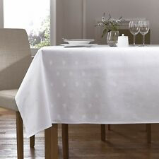 White 100% Egyptian Cotton Table Cloth - Ivy Leaf Design