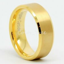 Mens Tungsten Carbide 14K Gold Plated Wedding Band Promise Ring Jewelry SZ 8-12