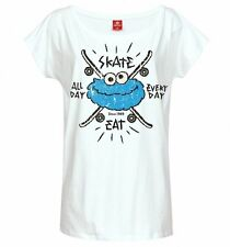 Official Women's White Cookie Monster Eat Skate All Day Sesame Street Slouch T-S