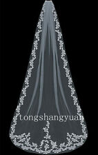 Lace Applique Bridal Veil 1 T White Ivory Wedding Veils Cathedral With Comb New