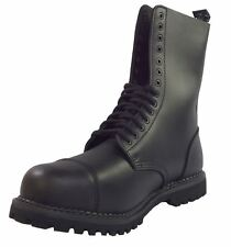 Grinders (England) Mens Black Leather Combat Fashion Steel Toe 14 Eye Boots