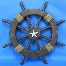 Handcrafted Nautical Decor Ship Wheel with Starfish Wall Decor