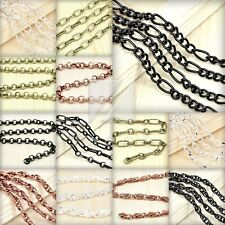 2M 6.56 feet Unfinished Chain DIY Necklace Ball Curb Flat Cable Rollo Woven