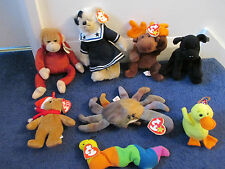 8 TY BEANIE BABIES WITH TAGS JOB LOT BEARS MOOSE MONKEY DOG INCH WORM CRAB DUCK