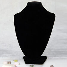 Black Velvet Necklace Pendant Chain Link Jewelry Bust Display Holder Stand#FO4