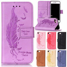 Flip Feather Pattern Card Wallet Leather Case Stand Cover For iPhone Samsung