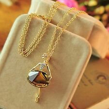 Ladies Women Long Chain Gold Plated Pendant Necklace Crystal Ballet Girl