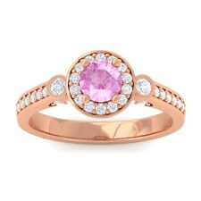 Pink Sapphire GH VS Fine Diamond Halo Gemstone Ring Women 14K Rose Gold