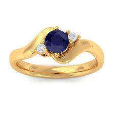 Blue Sapphire GH VS Natural Round Diamond Gemstone Ring Women 18K Yellow Gold