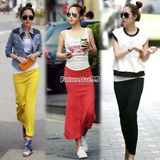 FT Women Casual Slim Long Skirt Elastic Waist Side Split Maxi Pencil Skirts