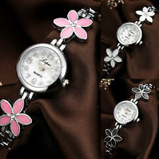 Women Mini Flower Rhinestones Inlaid Band Quartz Bracelet Wrist Watch Bluelans