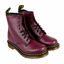 Dr. Martens 1460 W Womens Purple Leather Lace Up Boots Shoes