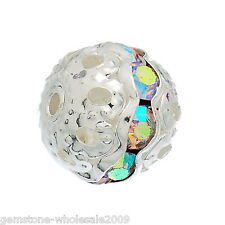 Wholesale Silver Plated Rondelle Ball Beads With Clear AB Color Rhinestone GW