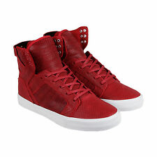 Supra Skytop Mens Red Leather High Top Lace Up Sneakers Shoes