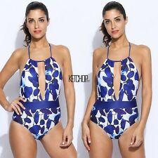Women Sexy Backless Halter Print Cut Out Stretch One Piece Swimsuit KECP