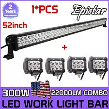 "52 Inch 300W Led Light Bar+ 4x 4"" Led Pods CREE Truck SUV ATV Off Road Jeep 54''"