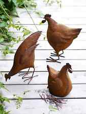 Shabby Chic Ornamental Rusty Pecking Chicken Metal Hen Statue Garden Accessory