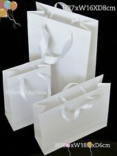 10 WHITE LUXURY PAPER GIFT PARTY BAGS SATIN HANDLES HEN WEDDING BIRTHDAY BABY