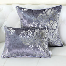 LUXURY SHINY Silver DAMASK VELVET THROW PILLOW CASES CUSHION COVERS 17""
