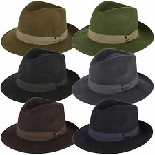 100% Wool Felt Fedora Hat with Grosgrain Band Handmade in Italy